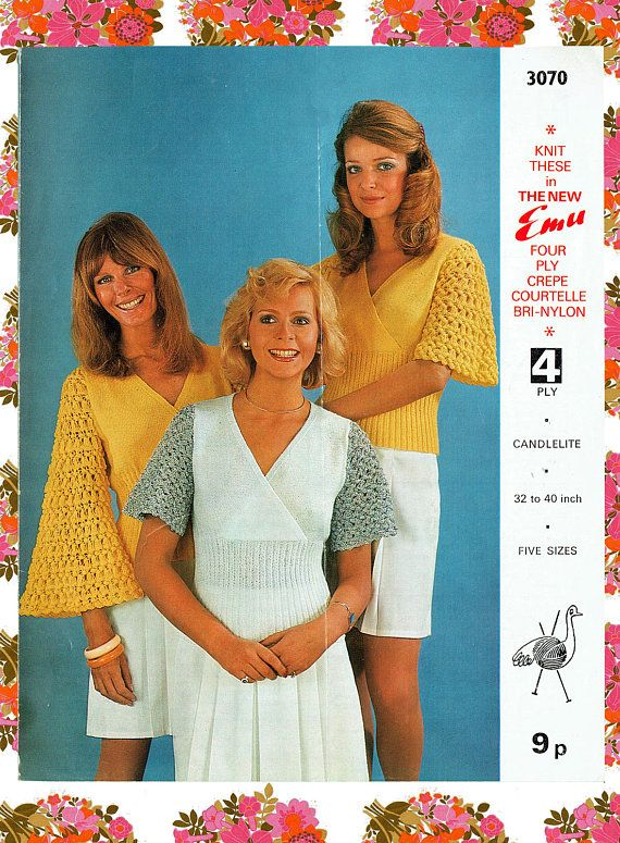 Original Vintage Womens Ladies Angel Top Knitting Pattern