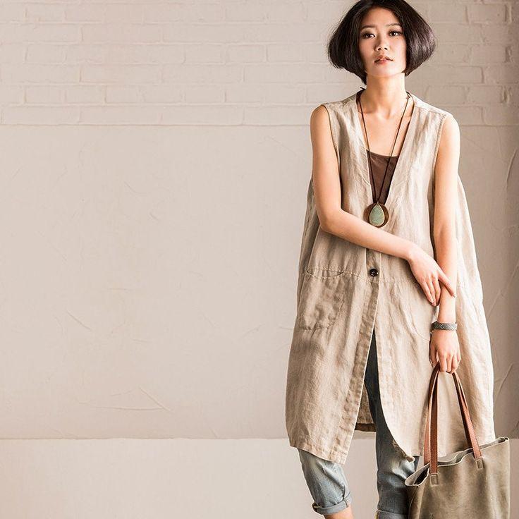 Art Loose Cotton Linen Long Vest Summer Coat V3511A