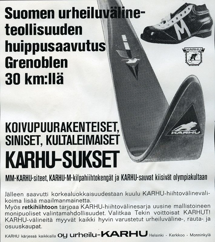 #talviurheilu #hiihto #Karhu #sukset #monot #urheiluvälineet #Suomi #Finland #crosscountryskiing #vanhatmainokset