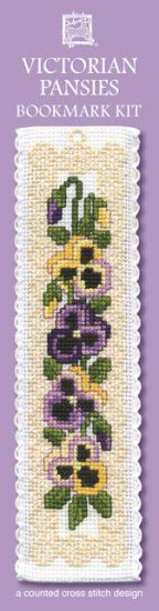 """Kreuzstichpackung Lesezeichen """"Victorian Pansies"""" / cross stitch kit bookmark """"Victorian pansies"""", Textile Heritage"""