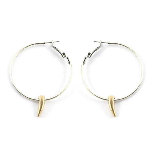 Metal Horn Hoop Earrings