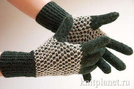 Теплые перчатки с узором Соты. Подробный мастер-класс по вязанию спицами.