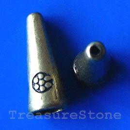 #Cone, antiqued brass finished, 8x20mm. #TreasureStone Beads Edmonton. www.TreasureStoneBeads.com