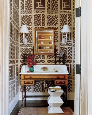 Lyford Trellis Wallpaper The Marble Sink In The Powder Room Of A Home In Florida Is Set Into An Antique Victorian Faux Bamboo Dressing Table