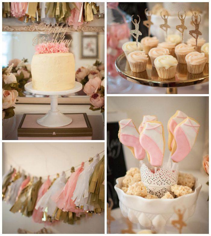 Pink and Gold Ballerina birthday party via Kara's Party Ideas KarasPartyIdeas.com Cake, decor, printables, cupcakes, favors, and more! #ballerinaparty #ballerina #pinkballerina (2)