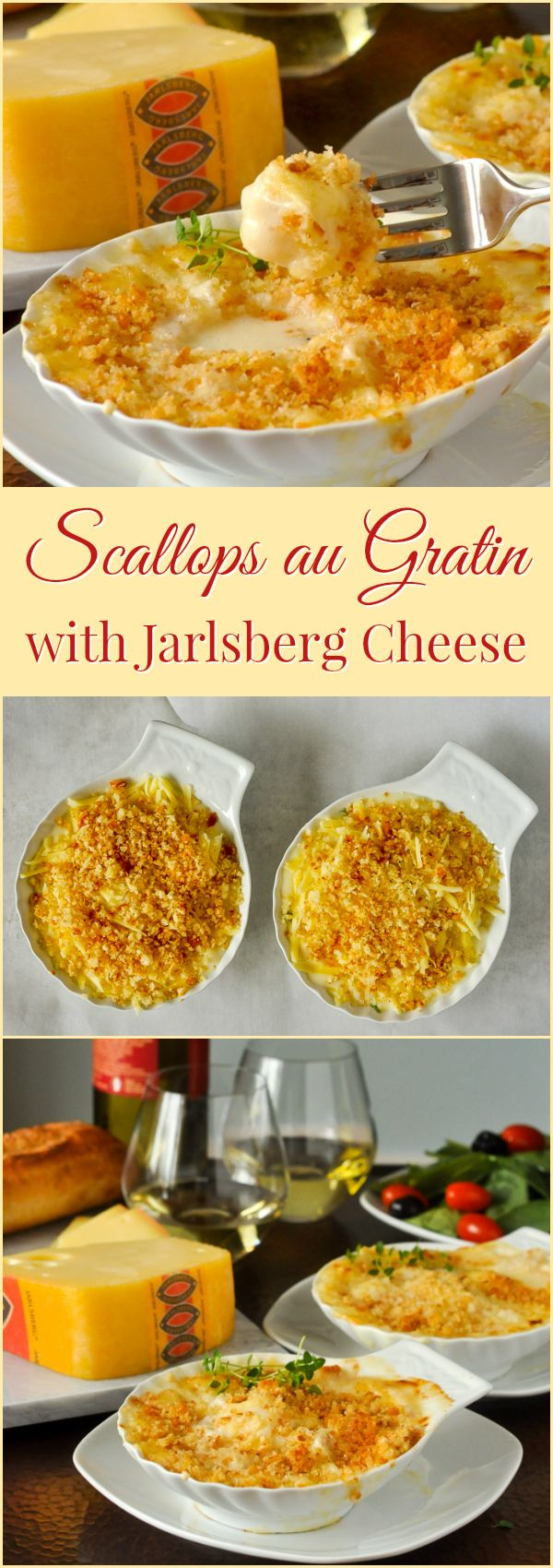 Scallops au Gratin with Jarlsberg Cheese, an indulgently delicious appetizer course or served with a side salad & crusty bread for a special lunchtime meal.