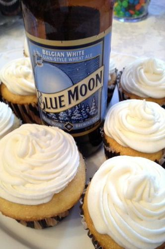 Blue Moon Cupcakes! Batter: 1 yellow box mix, 3/4 c Blue Moon, 1/2 c water, 1/2 tsp orange zest, 1/2 c oil, 3 eggs. Bake @ 350 for 18-22 min. Frosting: 5 c powdered sugar, 1/2 c softened butter, 4 tbsp Blue Moon, 2 tbsp orange juice.