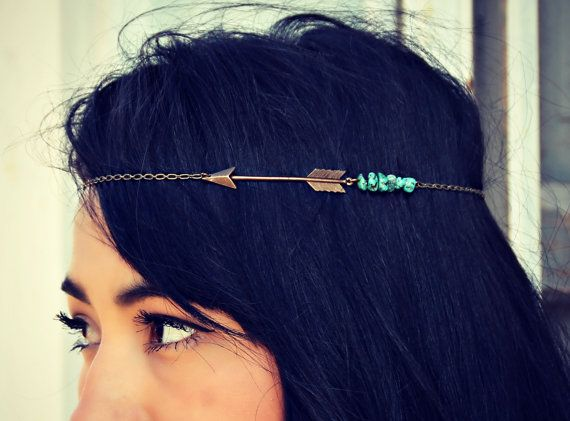 arrow chain head piece with turquoise nuggets, chain headband, tribal headband, metal headband, unique headband