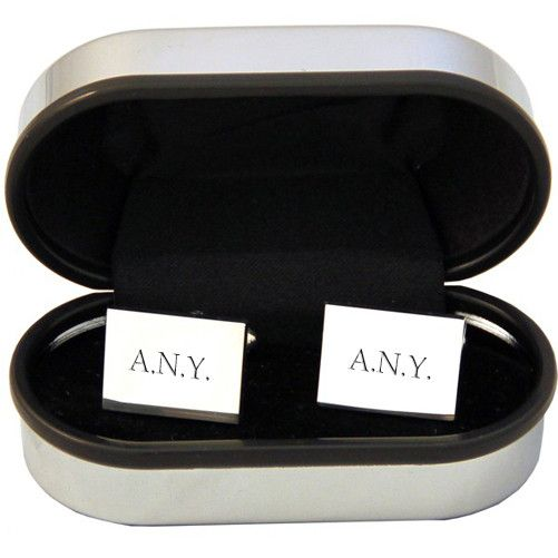 Personalised Rectangle Silver Plated Cufflinks - yourgifthouse