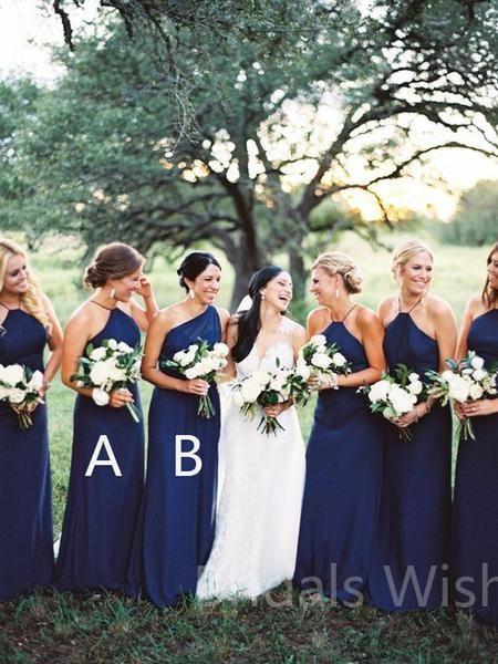 Cheap Navy Blue Halter &One Shoulder Long Bridesmaid Dresses, BW0153 Cheap Navy Blue Halter &One Shoulder Long Bridesmaid Dresses, BW0153
