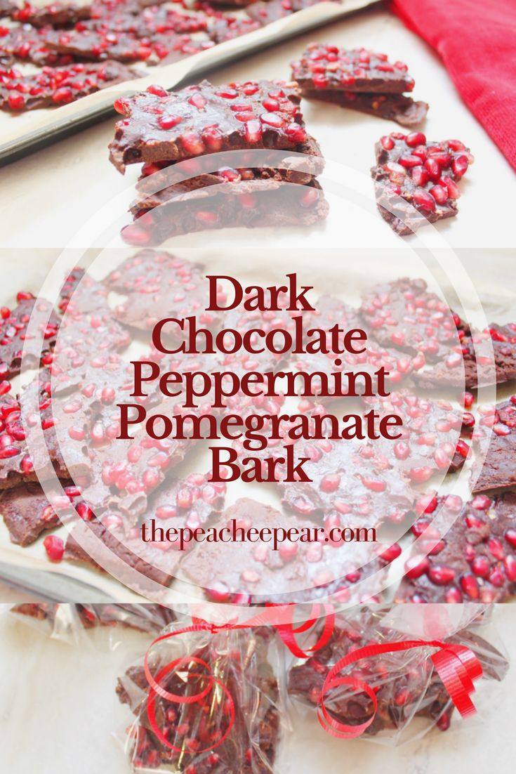 Once you take a bite out of this bark you can taste Christmas. The juiciness from the pomegranate seeds blends in with the peppermint chocolate making it the perfect holiday treat. via @ThePeacheePear