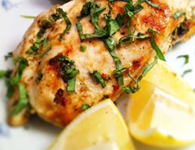Lemon Garlic Basil Chicken •4 5 ounce Skinless Boneless Chicken Breast  •1 Clove  Garlic  •2 Teaspoons Olive Oil  •1/4 Teaspoon Cayenne Pepper  •2 Teaspoons Lemon Juice  •3 Teaspoon Fresh Basil  •1/2 Teaspoon Sea Salt