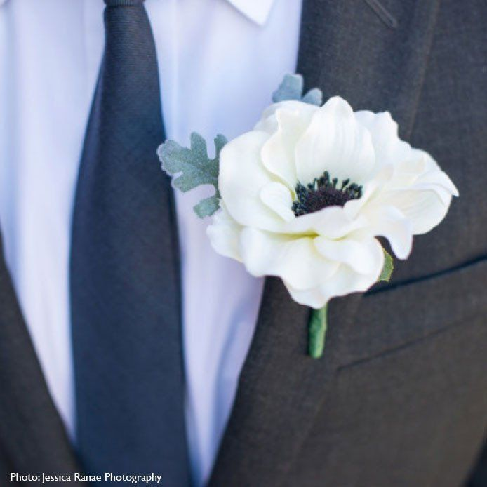 """Soft and romantic, this anemone boutonniere will work with many wedding themes including vintage weddings, romantic weddings, and Gatsby weddings. Each boutonniere features a 3"""" soft cream bloom with"""