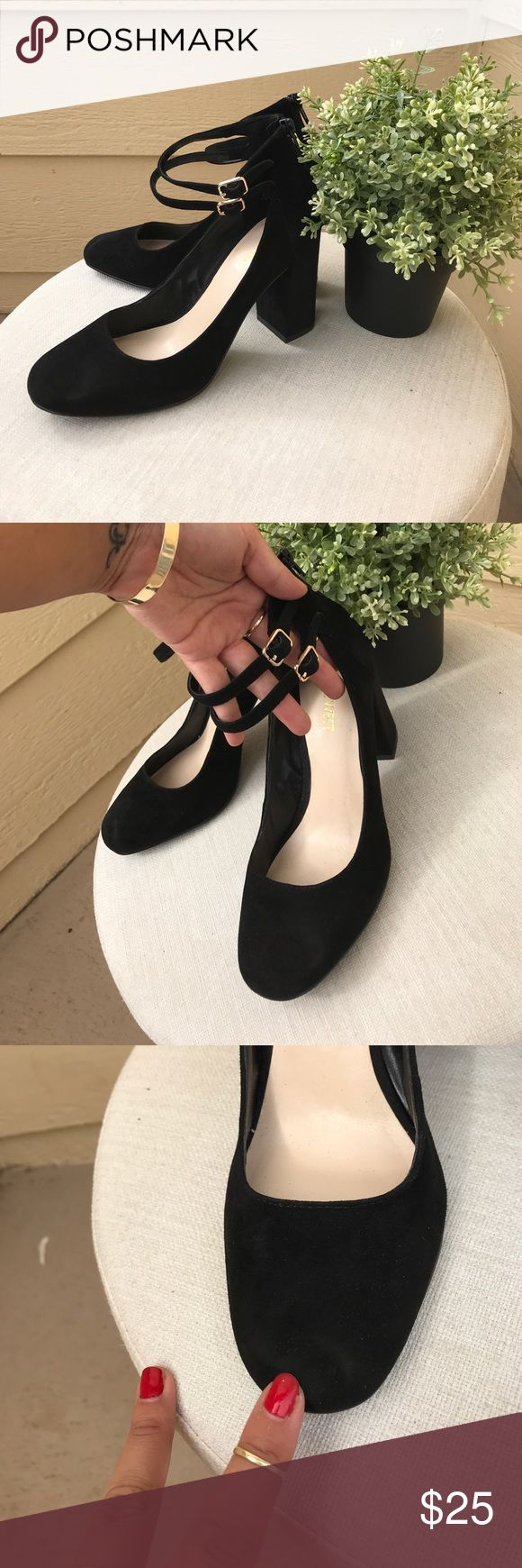 || NWOT 9 West: Double Ankle Strap Heels || Another pair of cute heels that don't fit after ankle break. Never worn but does have a minor indent on right shoe form being in storage (3). Features gold hardware on both ankle straps, suede feeling upper, 3.5 heel, rounded toe, and zipper back. Nine West Shoes Heels