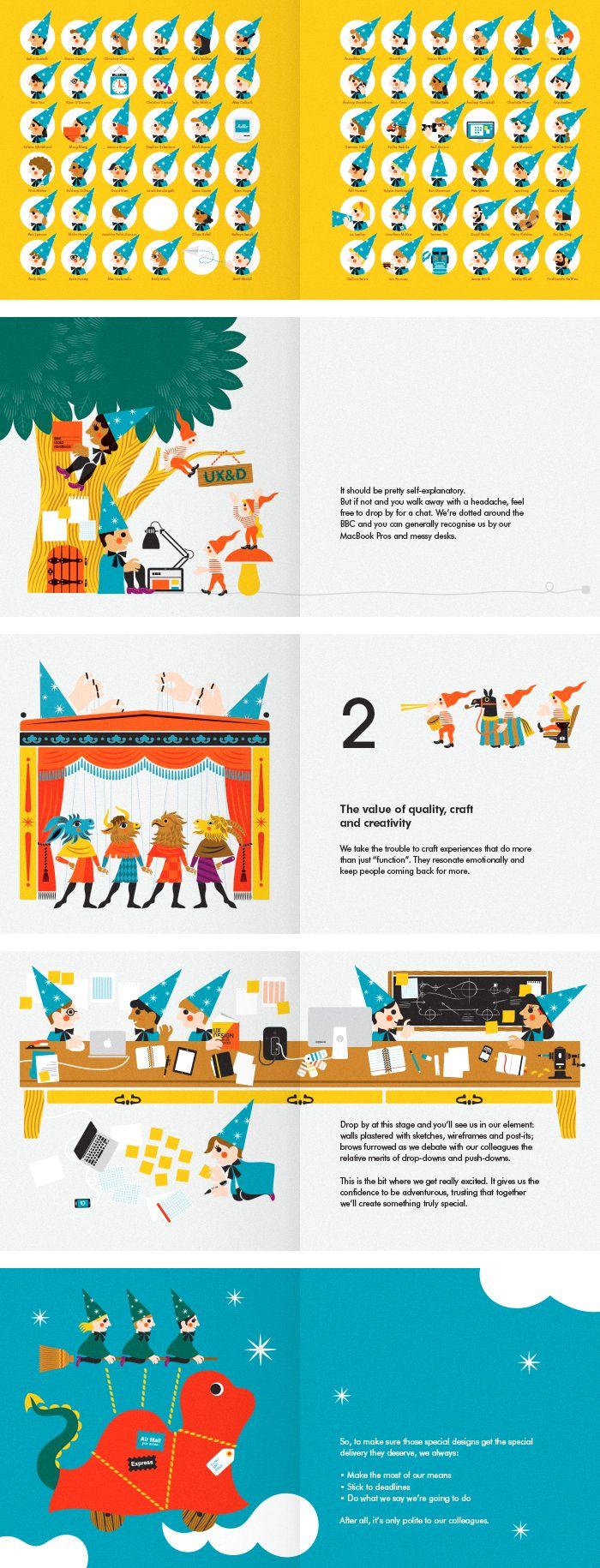 BBC UX&D team illustration in children's book format.