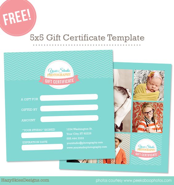 FREE Gift Certificate Template – Photoshop Templates for Photographers, Photography Marketing Templates, Photo Card Templates, Album Templates & more! – Hazy Skies Designs