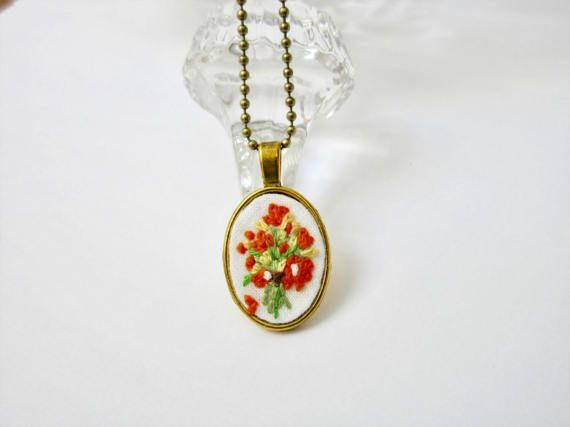 Orange flower bouquet pendant plant embroidered gold small gift mothers day hand embroidery crewel jewelry miniatures traditional art folk