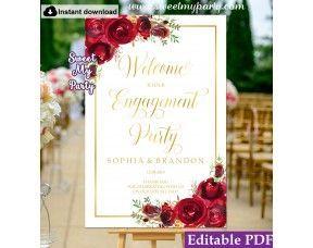 Engagement Willkommensschild Willkommen auf unserer Verlobungsfeier Zeichen rote…