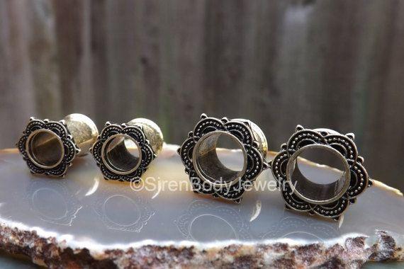 Brass tunnel gauge earrings rose mandala by SirenBodyJewelry