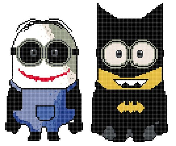 Batman-Joker Minion Crochet Graphghan Pattern Please click the download button to download the hi-res PDF Single Page4 PageSign up for weekly graphghan upda