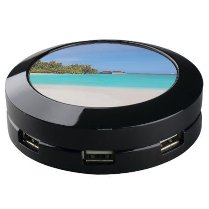Tropical blue azure ocean with lush greenery. USB charging station - blue gifts style giftidea diy cyo