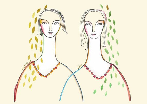 Art Print Personalized portrait Sisters Best by LouisestArt: Mothers Daughters, Girls Women, Art Prints, Personalized Portraits, Friends Girls, Happy Color, Personalized Families, Personalized Sisters, Families Portraits