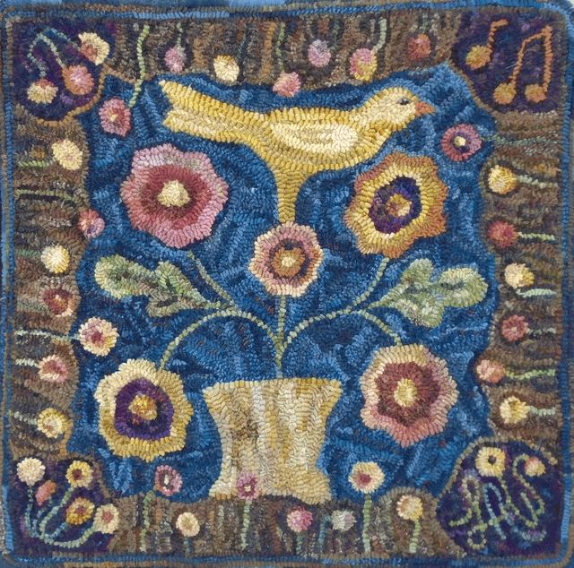 Song Of The Yellow Bird By Lin Wells Pattern Only Or Complete Rug Hooking Kit