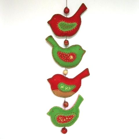 Red and green felt bird mobile.