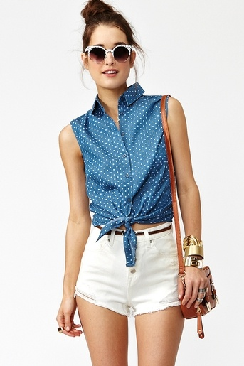 spotted chambray top