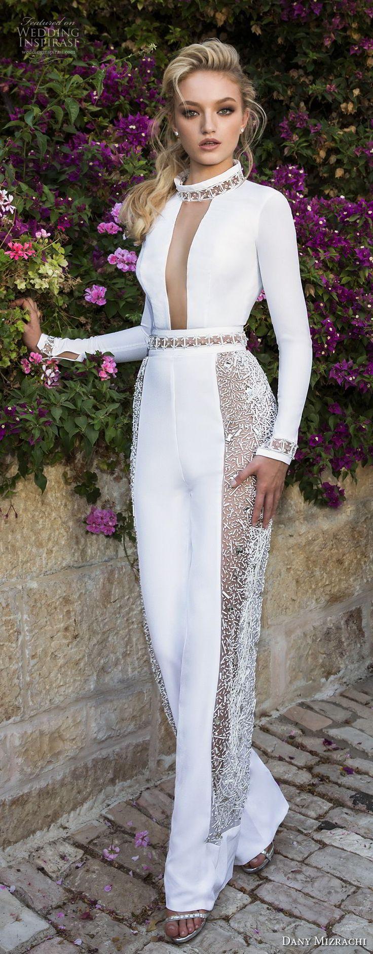 dany mizrachi spring 2018 bridal long sleevess high neck keyhole bodice simple chic jumpsuit wedding dress keyhole back (37) mv -- Dany Mizrachi Spring 2018 Wedding Dresses