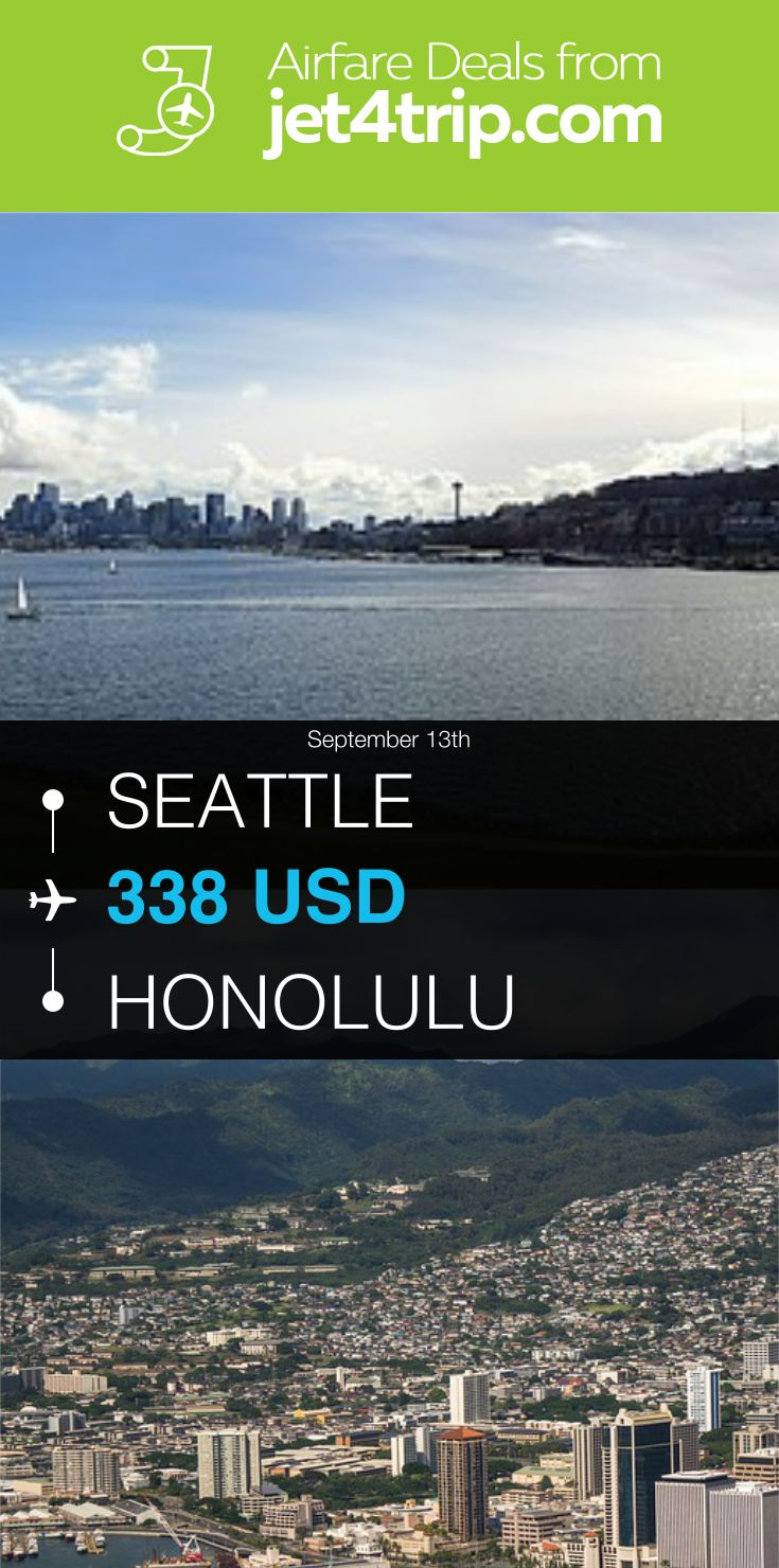 Flight from Seattle to Honolulu for $338 by United Airlines #travel #ticket #deals #flight #SEA #HNL #Seattle #Honolulu #UA #United Airlines