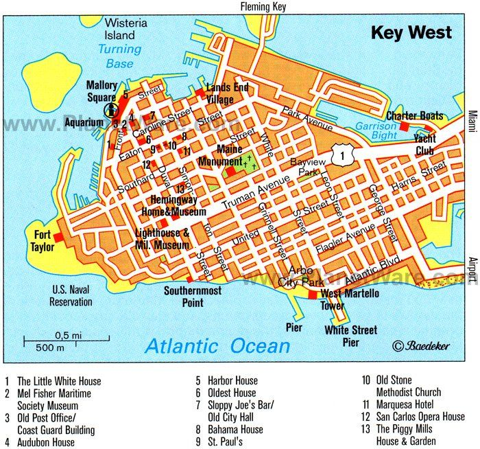 Florida Map Key West Key West Map   Tourist Attractions | Key west map, Key west
