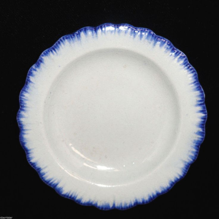 Tiny Miniature Blue Feather Shell Edged Pearlware Toy