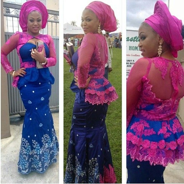 Pink And Blue Aso Ebi Combination Collages From Nigerian Fashion Police Pinterest Aso Ebi