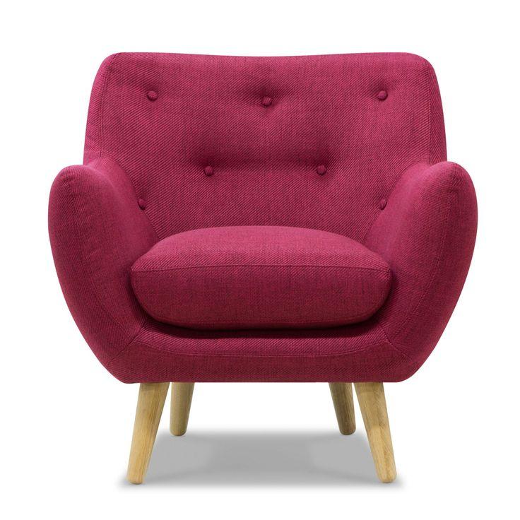 Fauteuil esprit seventies en tissu framboise Rouge - Poppy Meuble - Fauteuils - Fauteuils et poufs - Salon et salle à manger - Décoration d'intérieur - Alinéa