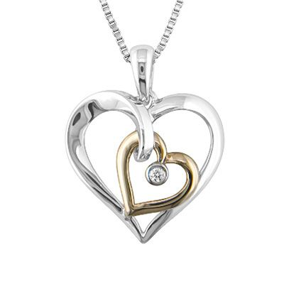 Diamond Accent Double Heart Pendant in Sterling Silver and 10K Gold - Peoples Jewellers Diamond Accent Double Heart Pendant in Sterling Silver and 10K Gold - - View All Jewellery - Peoples Jewellers