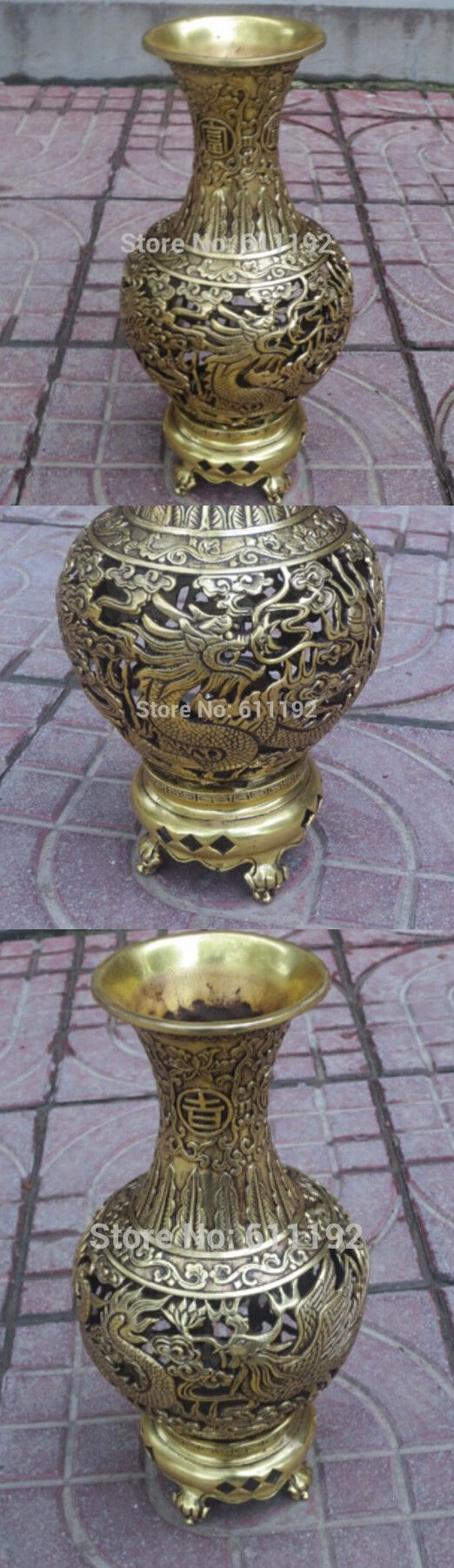 10inch high Asian Home Decor vases chinese brass Hand-carved Dragon and Phoenix Big vase $81