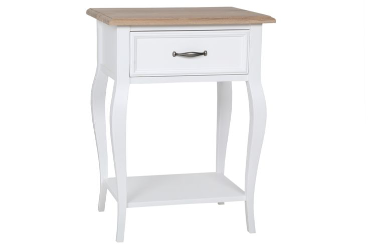 Bastille Solid white and smoked oak bedside table with Cabriolet leg! Order online - Delivery country wide http://bit.ly/1Vp4BtW