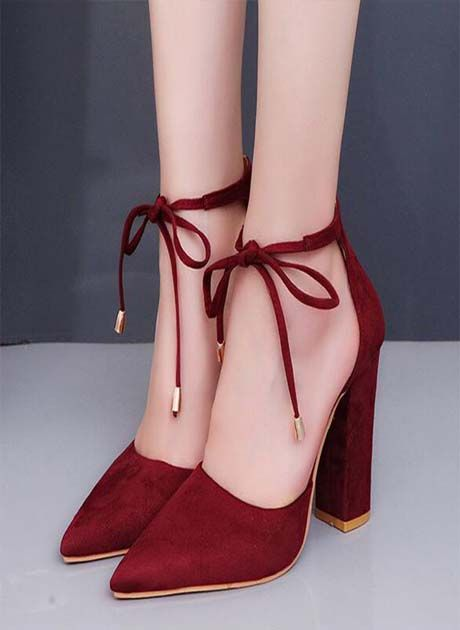 5fffdc2ee80 Womens Suede Block High Heels 2018
