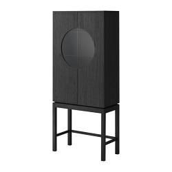 """IKEA STOCKHOLM glass-door cabinet, black Width: 29 1/2 """" Depth: 14 5/8 """" Height: 68 1/2 """" Width: 75 cm Depth: 37 cm Height: 174 cm"""