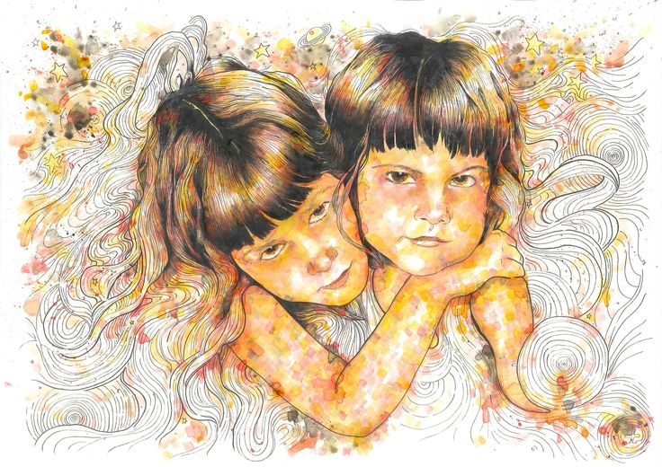 Lydia & Kalliope / custom portrait (29,7 x 42, ink on paper)