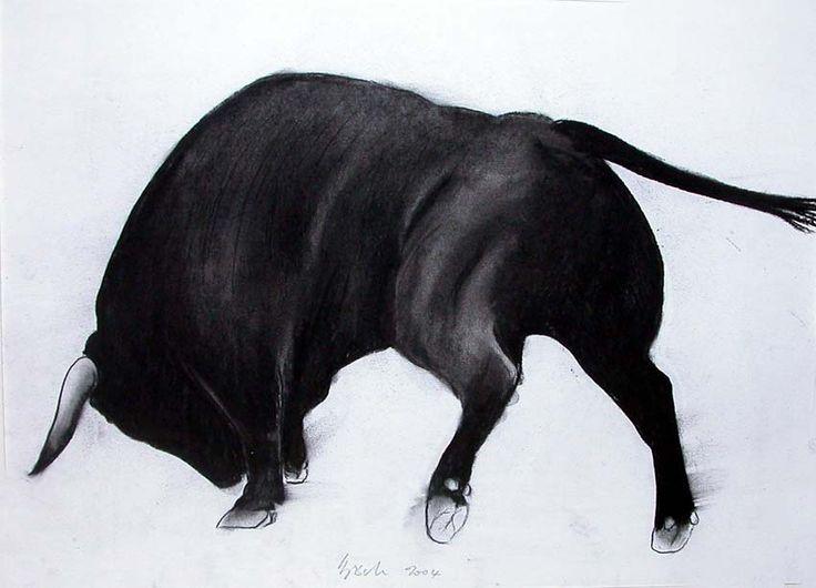 Hermosito taureau Peinture animalière Thierry Bisch artiste peintre animalier peinture tableau art décoration