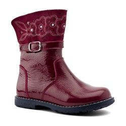 Dark Red Patent Zip-up Children's Boots For Girls