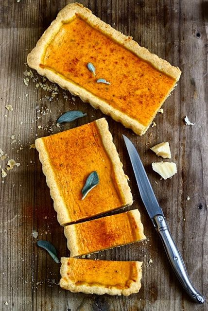 Pumpkin tart with parmesan + sage - this looks great and the recipe is not in English :(. Going to have to google