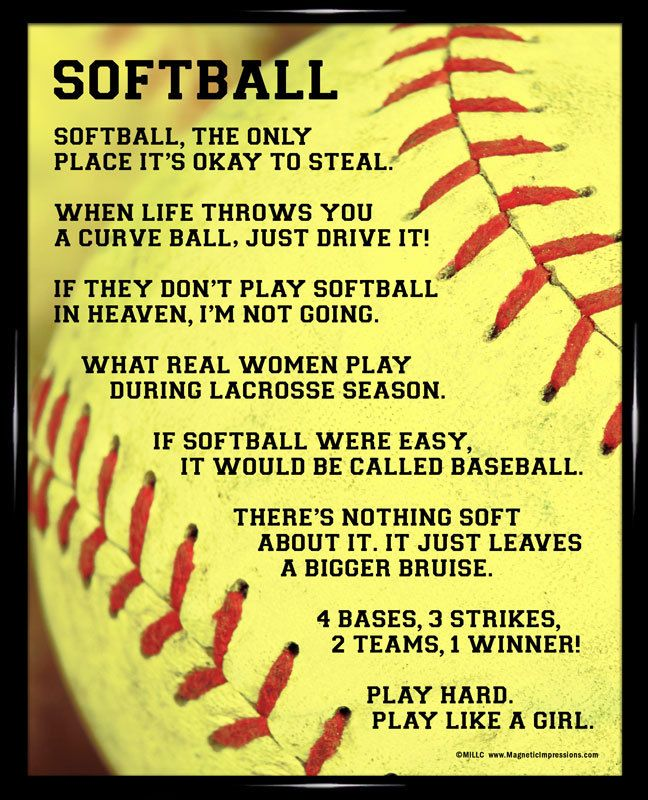 "Softball Player Sayings 8x10 Poster Print. ""When life throws you a curve ball, just drive it!"" is one of the funny softball quotes on this poster."