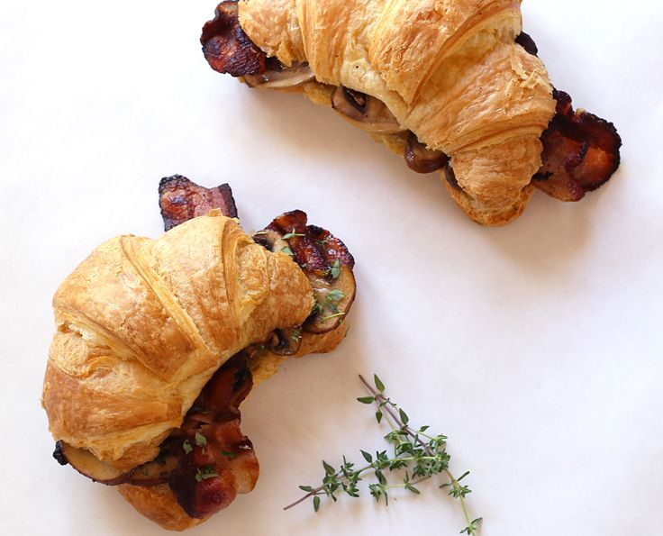 Best Ever Bacon, Mushroom and Tomato Brunch Croissants