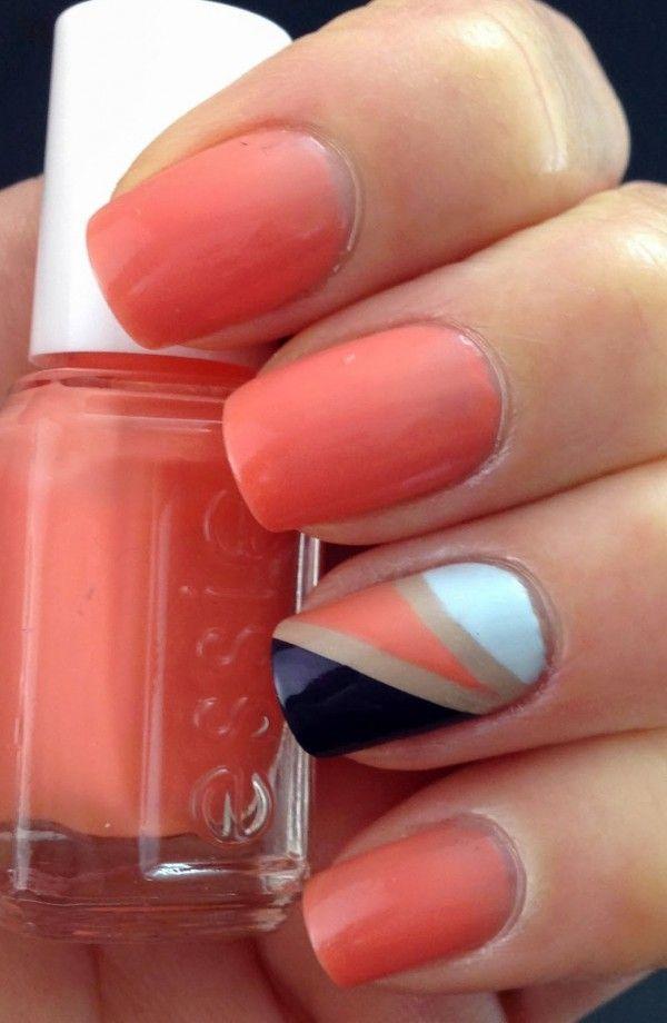 Orange, gold ,black & grey nails.