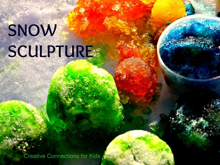 Colorful Snow Sculpture. Just ice, snow, food coloring. Beautiful fun!