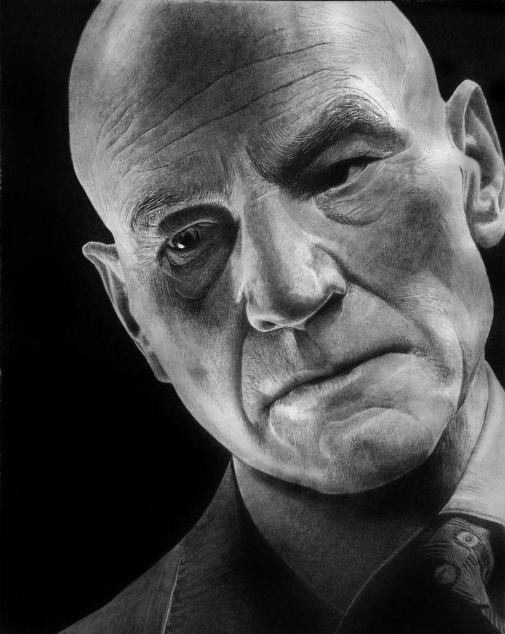 Patrick stewart obe hyper realistic pencil drawings by italian artist franco clun