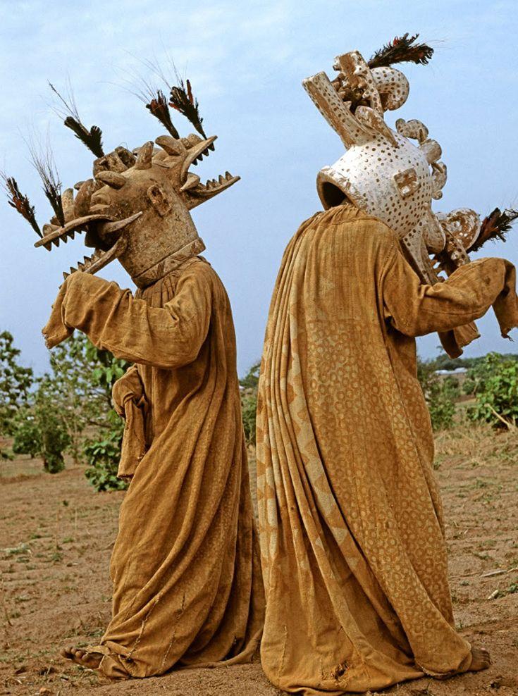 "Africa | Senufo Wambele Funeral Masks. Ivory Coast. | ©Carol Beckwith & Angela Fisher. 1994, Publication ""African Ceremonies"""